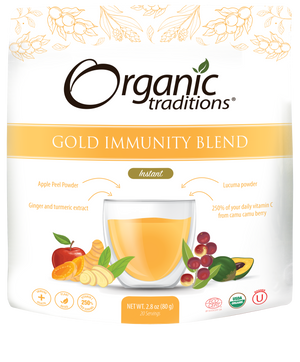organic gold Immunity blend by organic traditions US front of bag image
