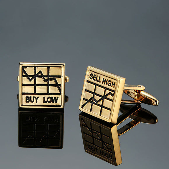 Buy Low Sell High Gold Cufflinks