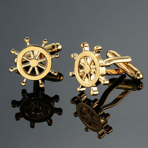Gold Ship's Wheel Cufflinks