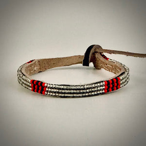 Armband silver with red/black