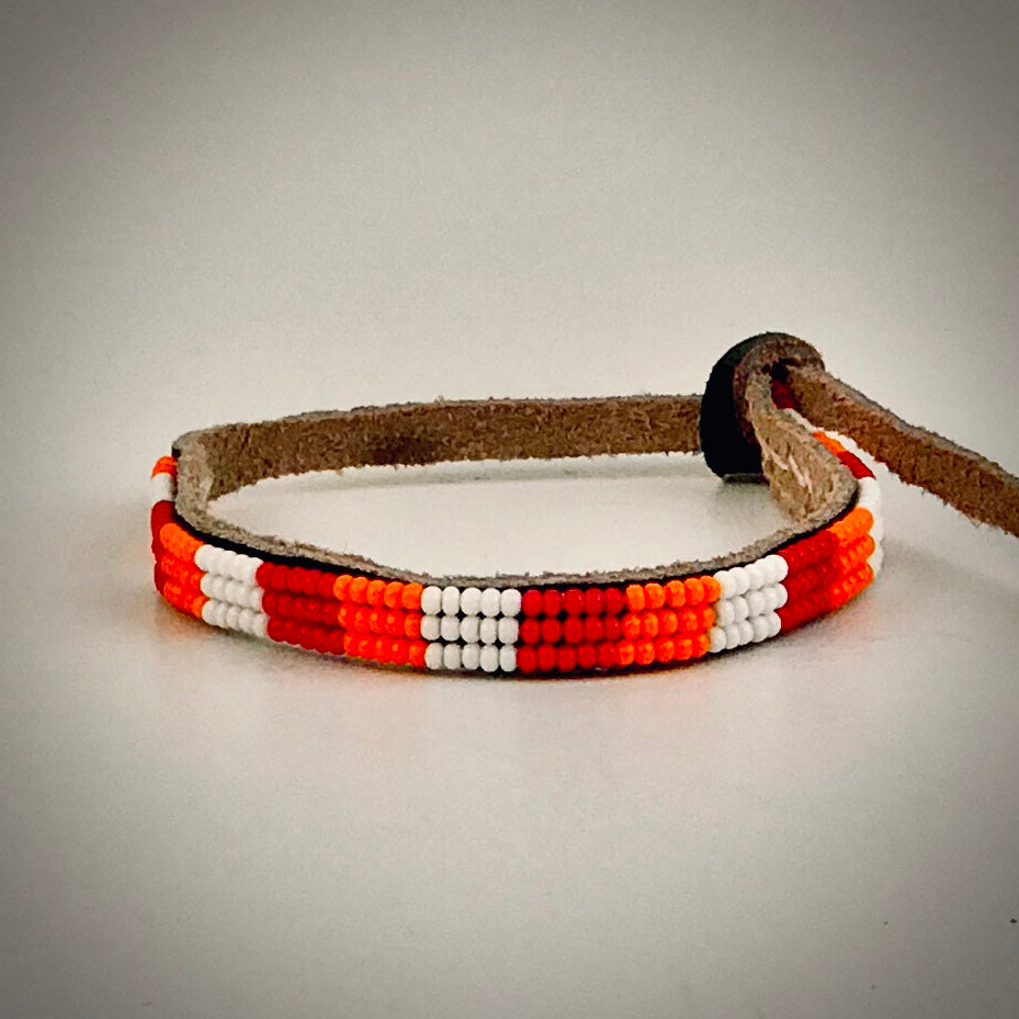 Armband white/orange/red
