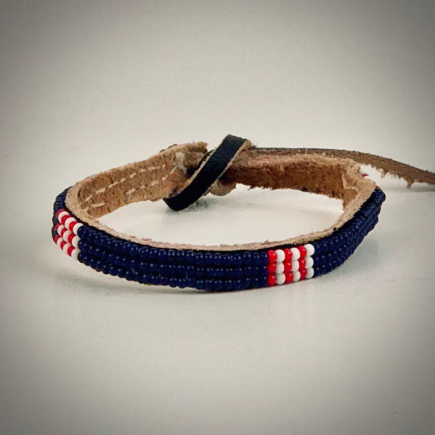 Armband dark blue with white/red
