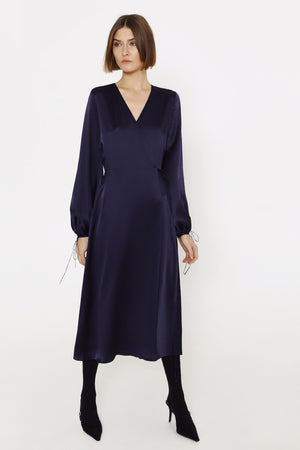 Wrap silk dress in navy
