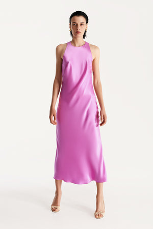 Halterneck silk dress in fuchsia