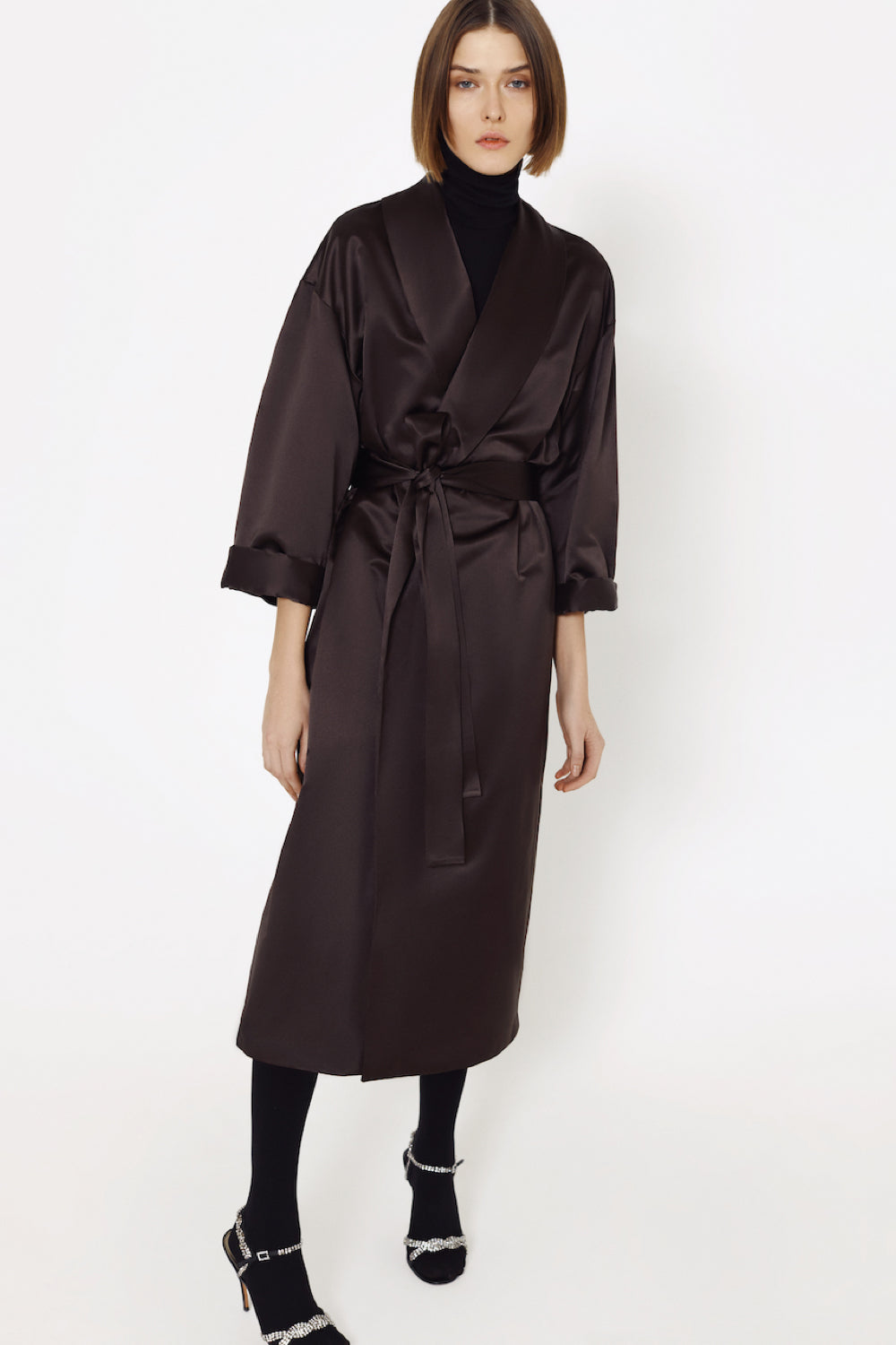 Silk female wrap coat in brown