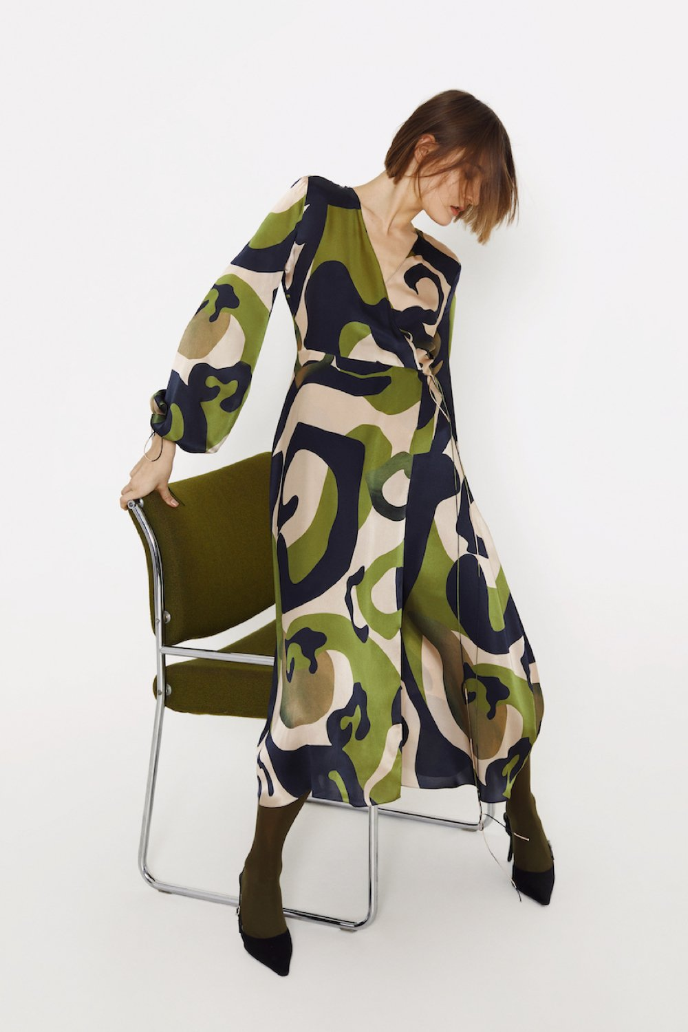 Wrap silk dress with print