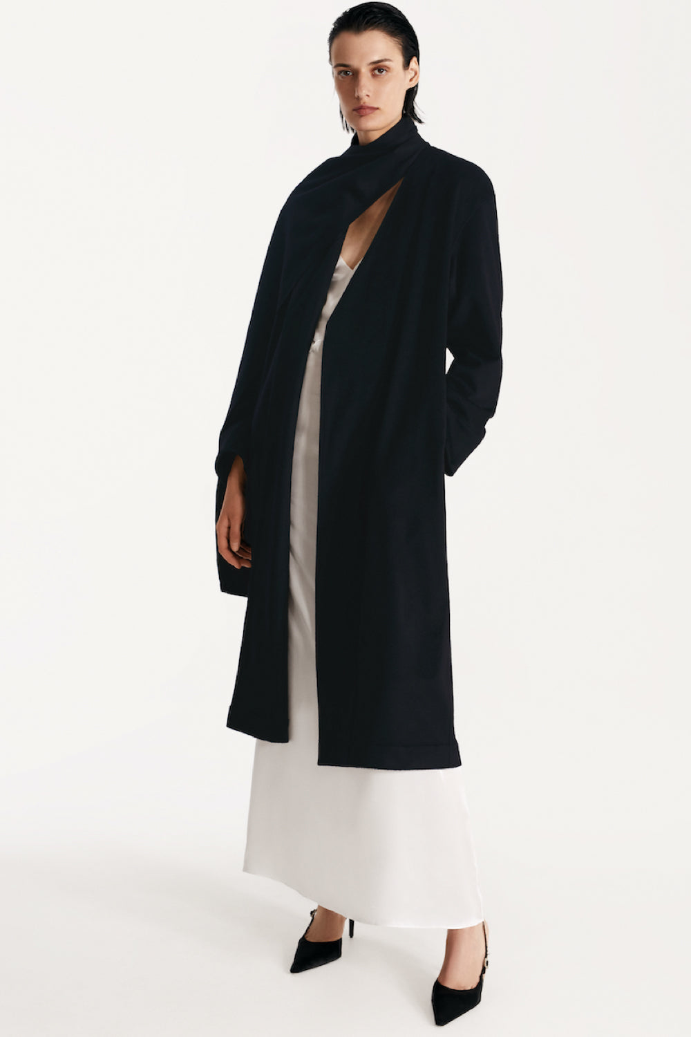 Eco-cashmere wrap coat with attached scarf in navy