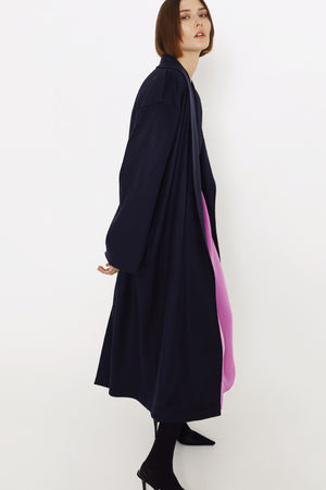 Eco-cashmere women wrap coat in navy
