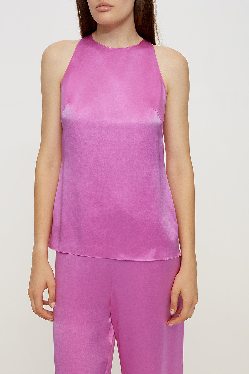 Halterneck pajama top in pink