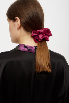 Cherry red silk scrunchie