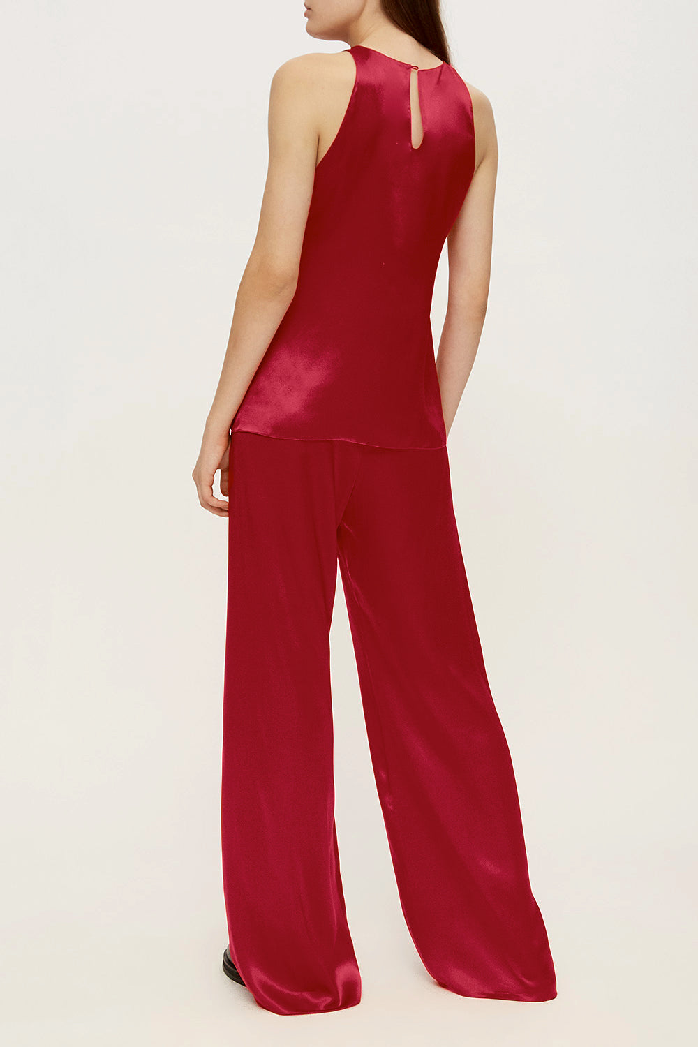 Women pajama fluid pant in cherry red