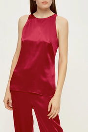 Halterneck pajama top in cherry red