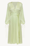 Wrap silk dress in sorbet green