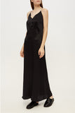 Open-back slip silk dress in black