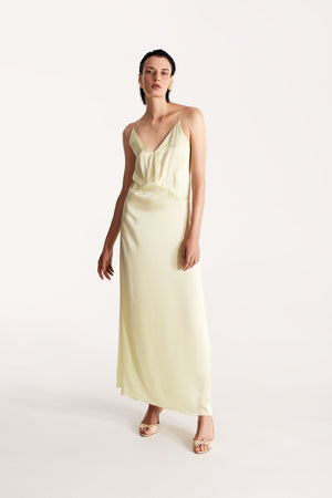 Open-back slip silk dress in sorbet green
