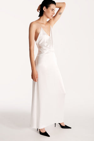 Open-back slip silk dress in white