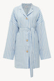 Striped blue oversized linen shirt dress