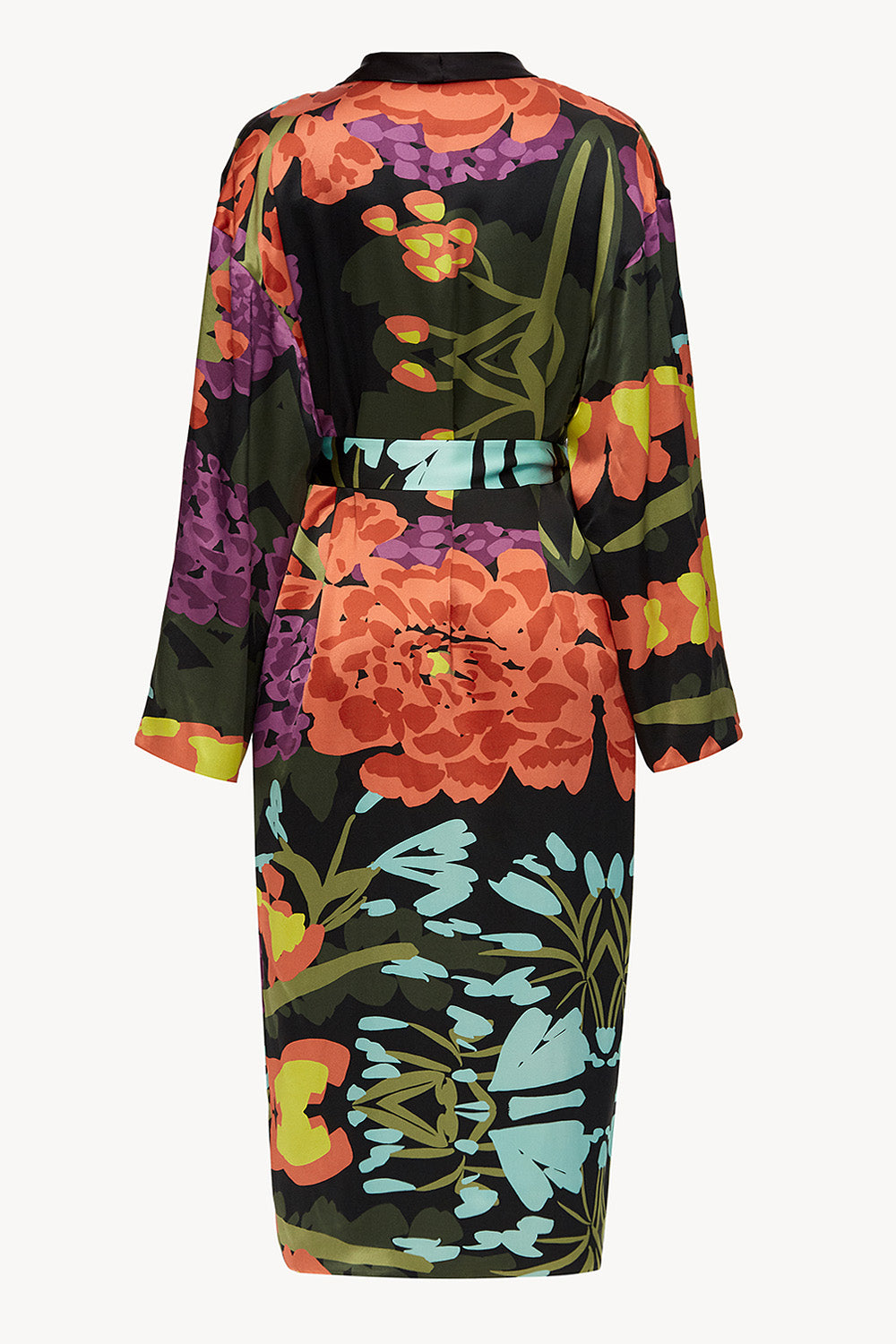Reversible midi silk robe featuring a relaxed fit in floral black/black