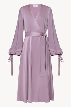 Wrap silk dress in violet