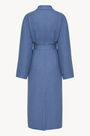 Basic men linen robe in blue