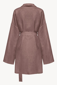 Lilac oversized linen shirt dress