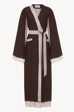 Desert Robe in Chocolate & Cream