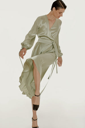 Wrap silk dress in green