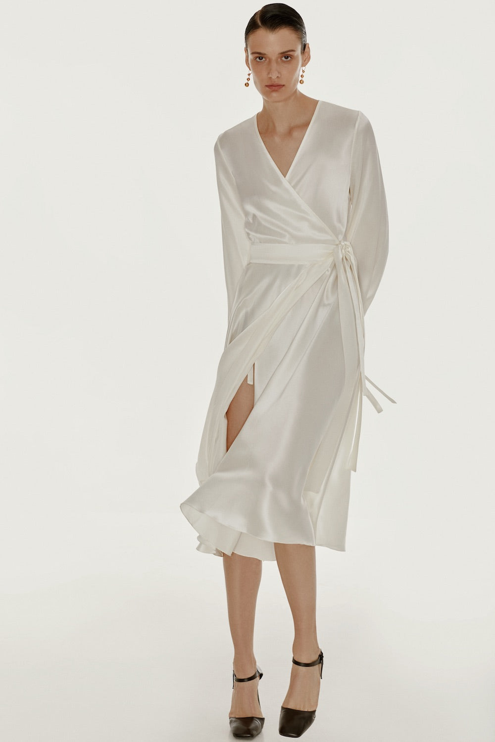 Wrap silk dress in white