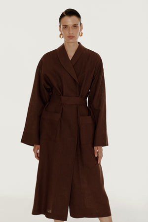 Basic line robe in brown