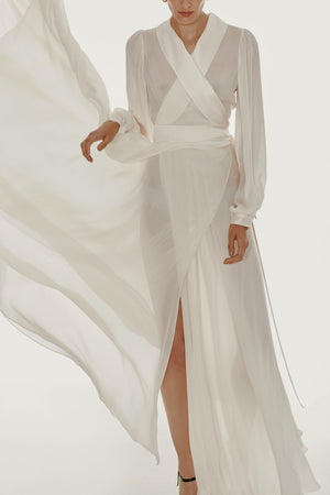 Floor length floaty chiffon wrap white dress