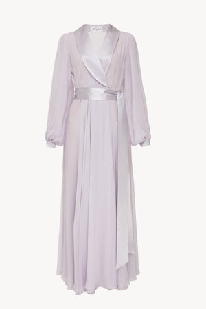 Floor length floaty chiffon wrap violet dress
