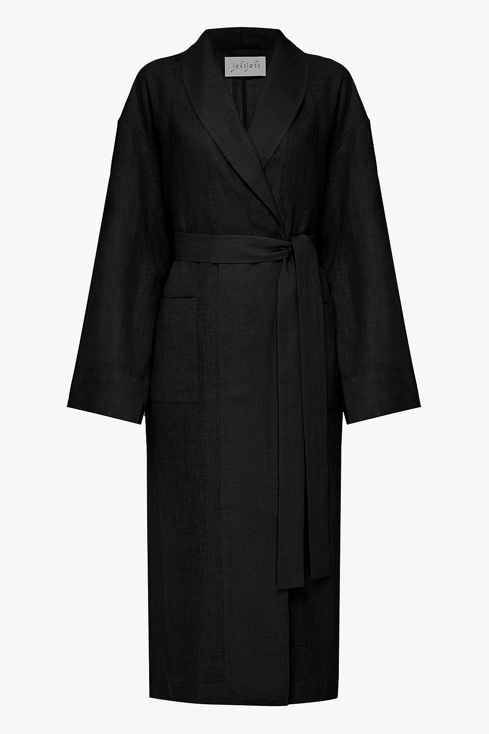 Basic linen robe in black