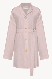 Pink oversized linen shirt dress