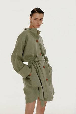Olive oversized linen shirt dress