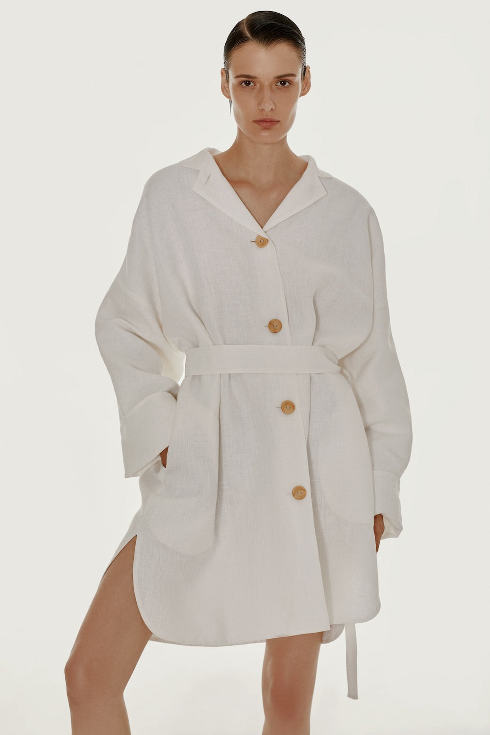 White oversized linen shirt dress