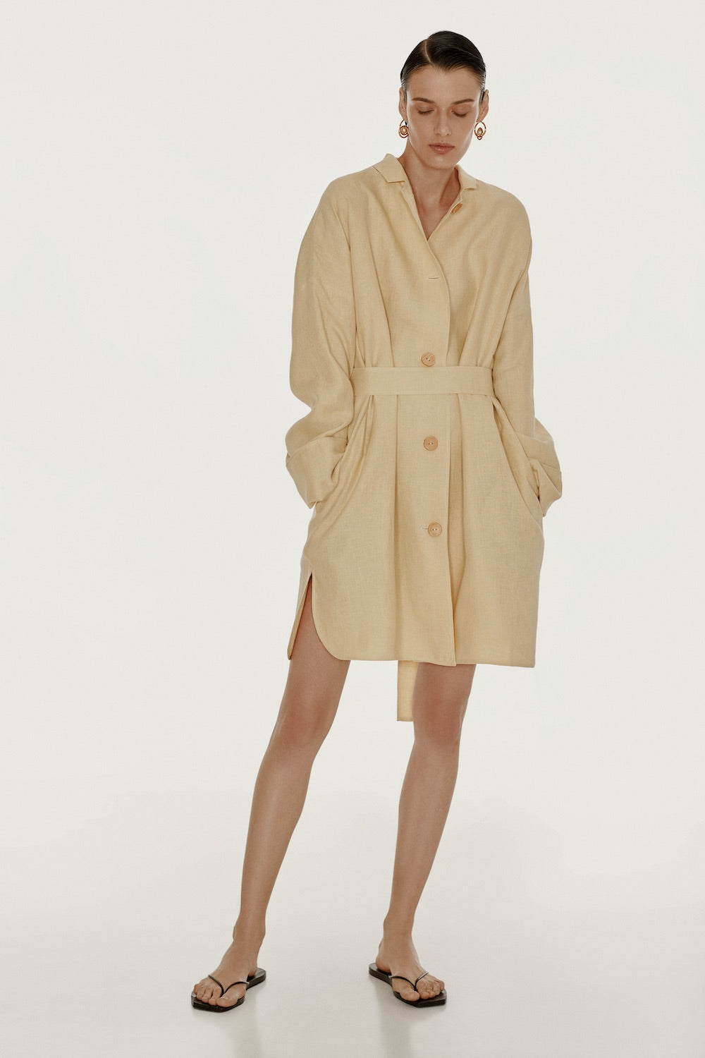 Yellow oversized linen shirt dress