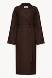Basic men linen robe in brown