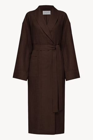 Men linen robe in brown