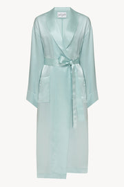 Basic silk robe in blue