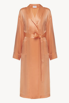 Basic silk robe in orange
