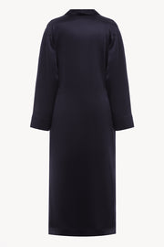 Pegnoir style silk robe in navy