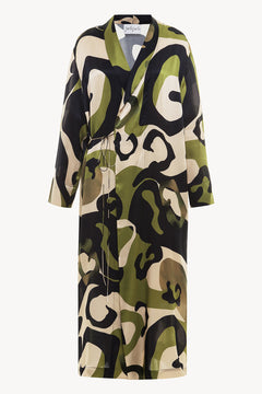 Peignoir style silk robe with print