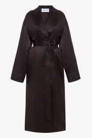 Silk wrap coat in brown
