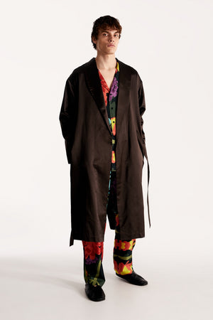 Crispy silk man wrap-coat with a relaxed fit