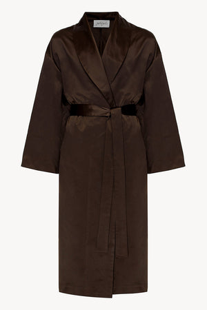 Crispy silk wrap-coat with a relaxed fit