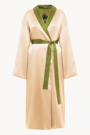 Reversible midi silk robe featuring a relaxed fit in muse/beige