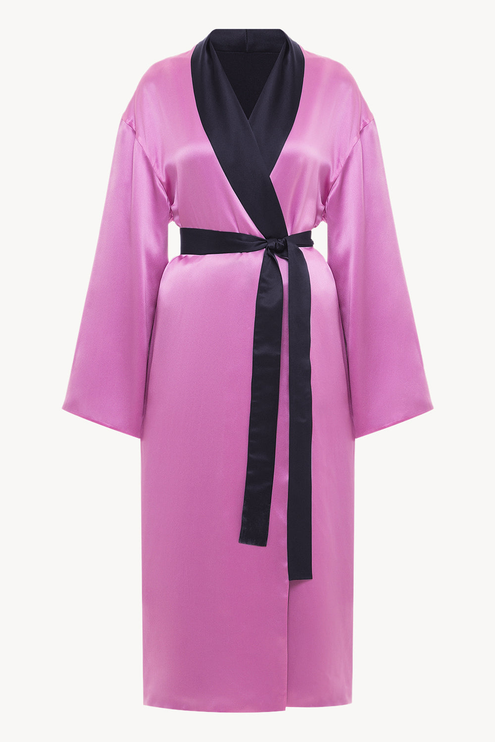 Reversible midi silk robe featuring a relaxed fit in fuchsia/navy