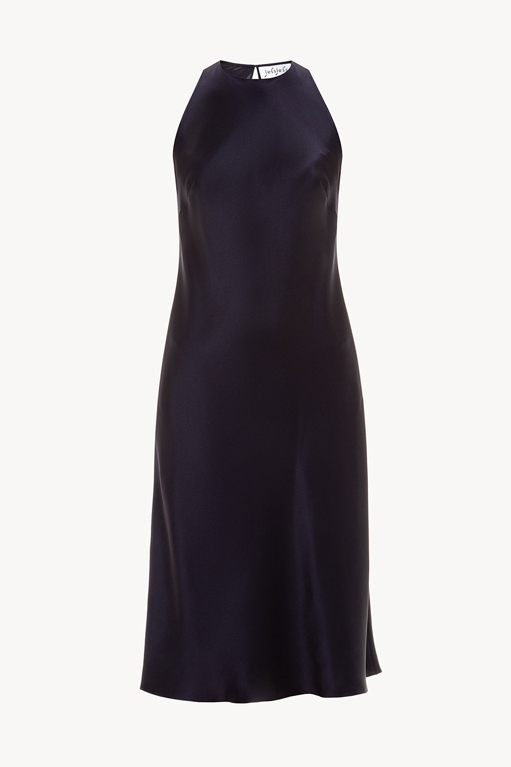 Halterneck silk dress in navy