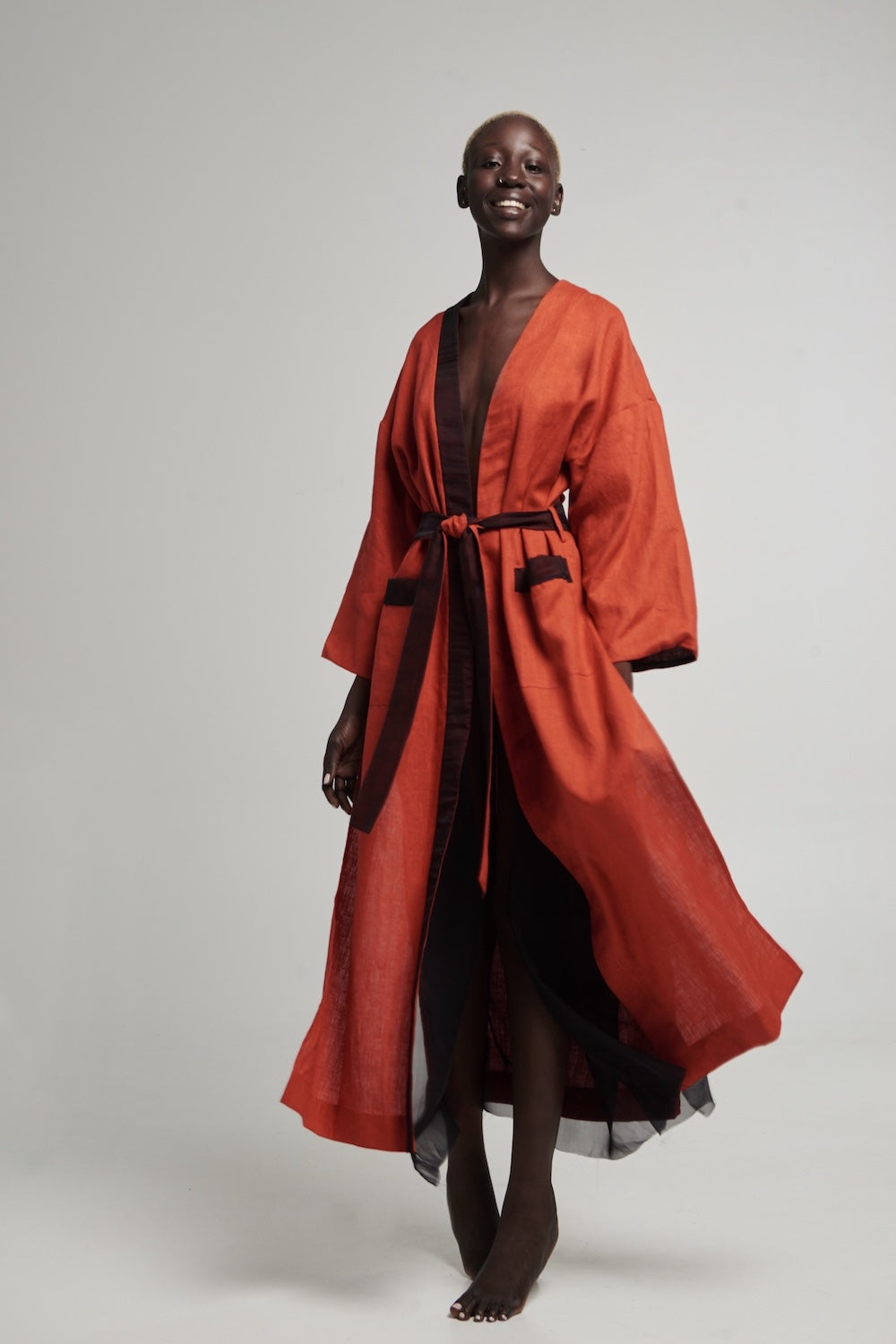 Halos Robe in Burnt Orange