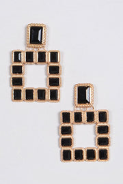 Multi Square Gemstone Earrings